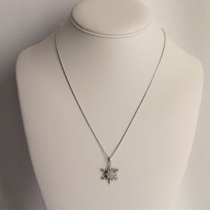 Sterling Silver Snowflake Star Pave CZ Necklace